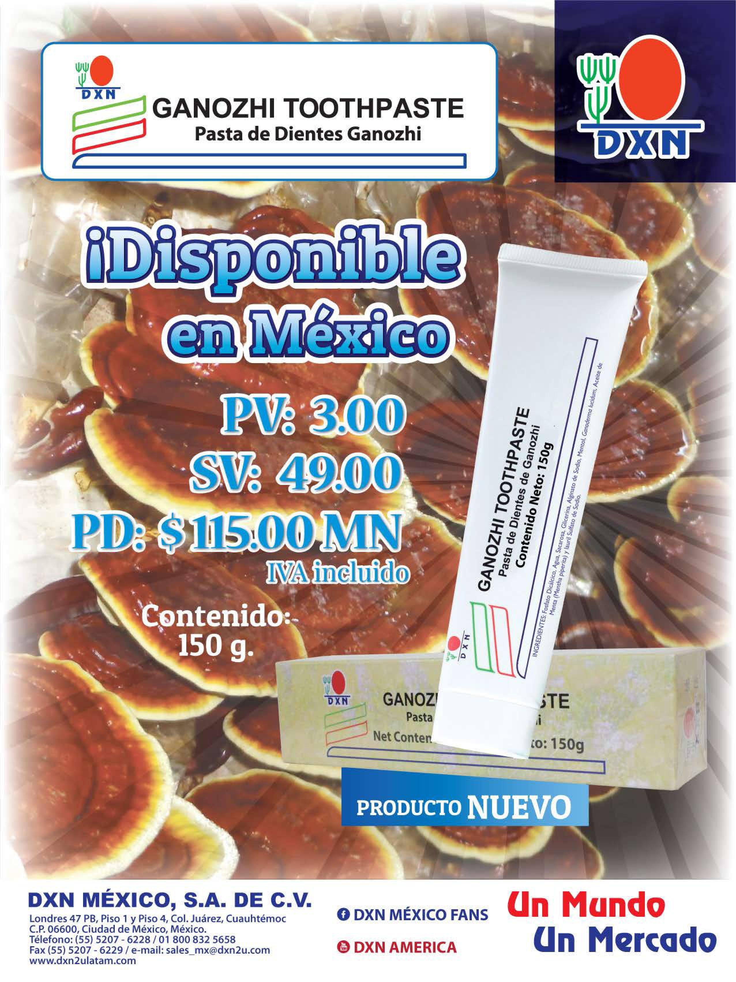 dxn mexico pasta dental con ganoderma