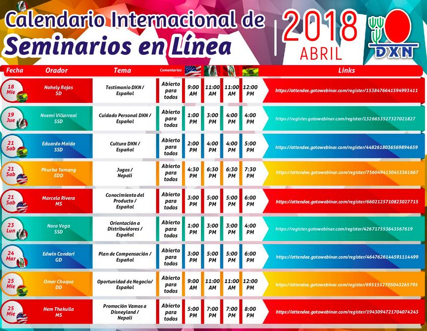 DXN PERU : Seminario en Linea Abril 2018